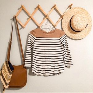 Monteau striped and suede top